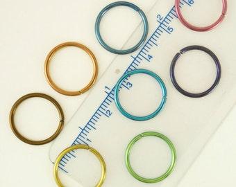 1 Hoop - Super Simple - Colorful Niobium Hypoallergenic Earring Hoop - 16 gauge 15mm OD - You Pick Color