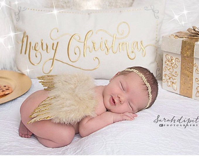 Tan Feather Baby Angel Wings with Gold Glitter Edges AND / OR Matching Gold Leaf Trim Headband, foto, infant, Lil Miss Sweet Pea