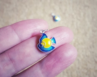 2 Tropical Fish Charms, Cloisonné Enamel, Silver Plated