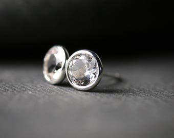 6mm round bezel set white topaz sterling silver martini cocktail stud earrings