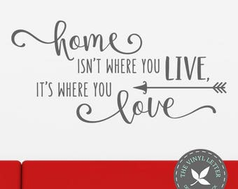 Home Isn't Where You Live Where You Love | Vinyl Wall Decal Sticker