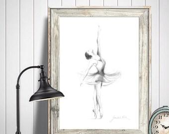 Ballerina Print, Ballerina Sketch, Ballerina Drawing, Print Ballet, Ballet Dancer, Print of Dancer, Ballet Art, Ballerina Art, Gift for Her
