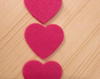 set of 3 little felt hearts