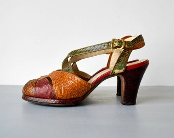 40's platform shoes. 1940 strappy sandals. peep-toe. brown green red heels. 6.5. 1940 snakeskin pumps.