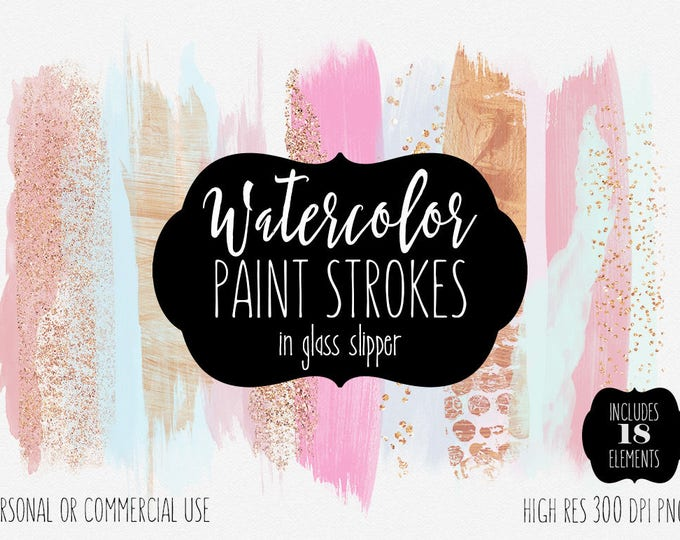 PINK WATERCOLOR BRUSH Strokes Clipart Commercial Use Clip Art Watercolor Paint Wash Rectangles Mint Aqua & Rose Gold Confetti Logo Graphics