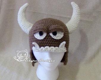 Monster Hat, 4 Sizes Child-Adult, INSTANT DOWNLOAD Crochet Pattern