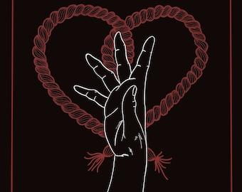"Don't Let Go Print 12 x 16"", hand drawn, illustration, print, love, hand on heart"
