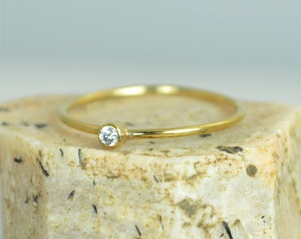 Tiny CZ Diamond Ring,  Solid Gold Diamond Stacking Ring, Solid 14k Gold Diamond Ring, Diamond Mothers Ring, April Birthstone, Diamond Ring