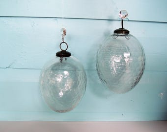 Crystal Balls, 2 large  ovoids, Large hanging clear honeycomb faceted globes, Beautiful condition, Vintage