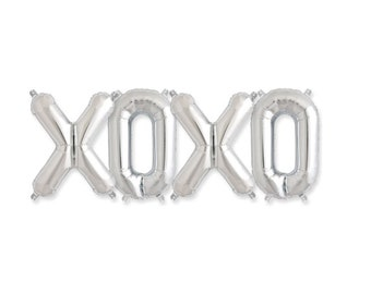 "Silver XOXO Balloon Kit Wedding Decor Party Decoration Valentine Balloons 16"" letters Air Fill Balloon"