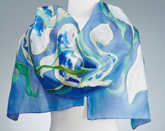 Hand Painted Silk Scarf, Silk Shawl using French dyes. Koi fish on blue.