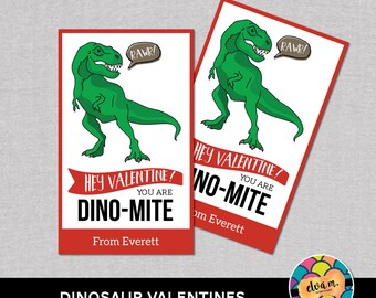 Dinosaur Valentines. Rawr Dino Valentine. Kids Valentines. Edit Yourself in Adobe Reader. *INSTANT DOWNLOAD*