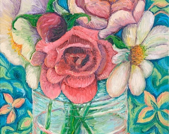Still Life with Roses, Original Oil Painting, 9 x 12 in.