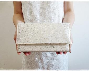 Sale Ivory clutch purse, Gold Flower Clutch Purse, Evening purse, party purse, bridesmaids clutch, wedding gift