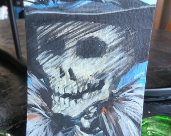 Skull Skeleton Day of the Dead Original Painting  ACEO Art card
