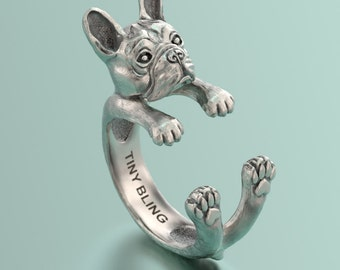 Handmade Silver French Bulldog Ring with Oxidized Sterling Silver Finish for all the Dog, Puppy, and Pet Lovers