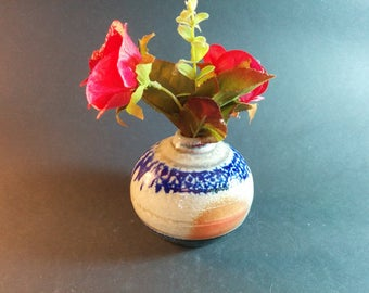 Mothers Day Gift, ready to ship Small bottle, bud vase, blue and white, ceramic, cobalt blue