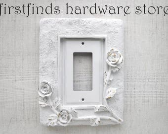 Light Switch Plate Electrical Outlet Plug Cover Shabby Chic White Gold GFI Framed Roses Painted Vintage Single Rocker DESCRIPTION BELOW