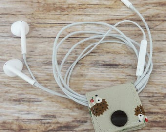 Fabric Cable iPhone Cord Holder Earphone Earbud Holder Cable Holder Cable Cord Organizer Cable Organiser - Hedgehogs Fabric
