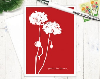 personalized stationery set note cards - POPPIES - set of 8 - personalized stationary set folded cards - choose color
