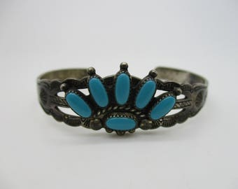 """Sterling Silver Native American Indian Navajo Turquoise Cabochon Cuff Bracelet Signed """"JP"""""""