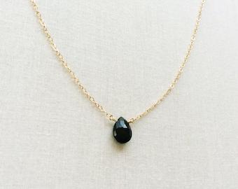 Black Onyx Necklace,Onyx Necklace, Onyx Jewelry, Black Stone Necklace, Simple Black Necklace, Black Gemstone Necklace, Black Necklace GN22
