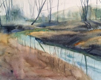 Landscape painting, woodland watercolor, woodland stream, winter trees, winter landscape, watercolor painting, landscape watercolor, Stream