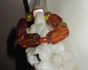 Art Deco Bakelite Honey Amber Stretch bracelet