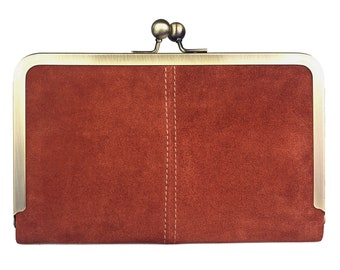 Hold All Leather Wallet in Terracotta Suede