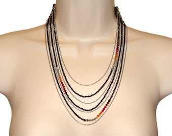 Erickson Beamon Necklace, Signed, Crystal and Chain Multi Strand, 1980s