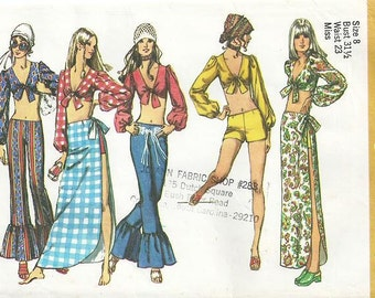 Vintage Simplicity Pattern 9412- Misses' Midriff Top, Hip-Hugger Pants in Two Lengths, and Wrap Skirt - Cut - OOP