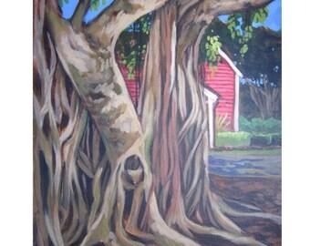 An original painting of a charming pink house peeking thru a tree