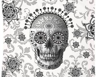 Black and White Victorian Sugar Skull Tapestry - Paisley Skull Day of the Dead Artwork on Lightweight Polyester Fabric