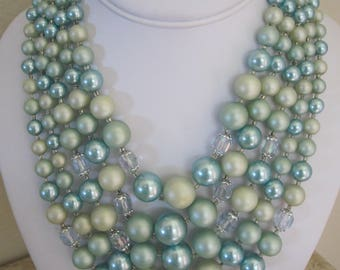 MULTI Strand MINT/AQUA  & Crystal Necklace
