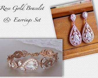 Rose Gold Jewerly SET, Rose Gold Bracelet & Earrings Set, Rose Gold Jewelry Set