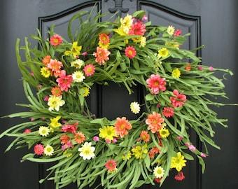Wreath, SUMMER Wreaths, May Flowers, Wreath for Summer, Summer Wreath, Front Door Beach House Decor, Wreath, Wreaths,  Beach Grass Wreath