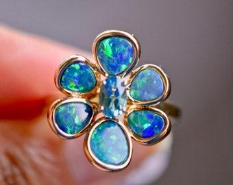 Australian Boulder Opal Ring, 14kt Gold Opal Blue Topaz Ring, Australian Opal Jewelry, Statement Ring, Opal Engagement Ring, Estate Jewelry