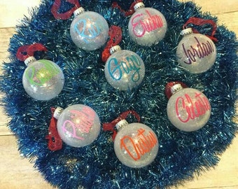 Personal Christmas Ornament/ Personalized Name ornament/ individualized ornaments / personalized glitter ornament