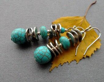 Turquoise earrings. dangle earrings. blue earrings. Turquoise. stones. silver earrings Turquoise. gift for women. Gift girlfriend. for wife