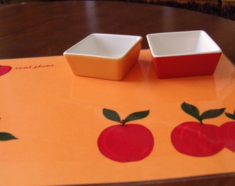 """Σουπλά """"Γλυκά Δαμάσκηνα"""" (πορτοκαλί) / Table Decor Placemats """"Sweet Plums"""" (orange) / Plastic Placemat / Orange Placemat"""
