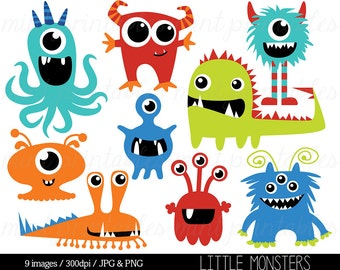 Monster Clipart, Monsters Clip Art, Birthday Clipart, Monster Party, Cute Monsters, Blue Red - Commercial & Personal - BUY 2 GET 1 FREE!