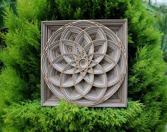 Spherical Mandala | Designer Wall Art | Unique Wooden Mandala | Personalized Mandala | Sacred Geometry | Lasercut Multilayer Wooden Mandala