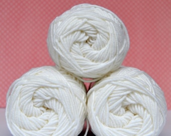 Kacenka - soft cotton/acrylic yarn for crochet and knitting, White color, No. 0010, 1 ball/50 g, Producer NCT