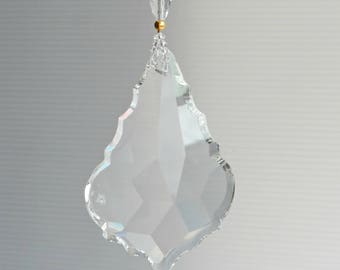big crystal prism, suncatcher, large crystal, hanging prism, traditional style, crystal ornament, hanging crystal, CrystalMamma, under sixty