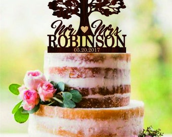 Tree Wedding cake topper, Custom Mr and Mrs cake topper for wedding, Name and Date Personalized Cake Topper, Rustic wedding cake topper