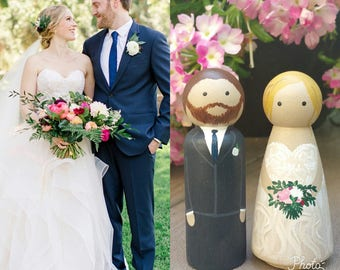 Personalized Cake Topper Peg Dolls for your Wedding