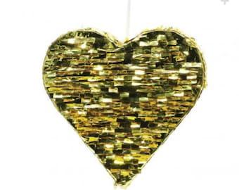 Gold Foil Heart Wedding Piñata