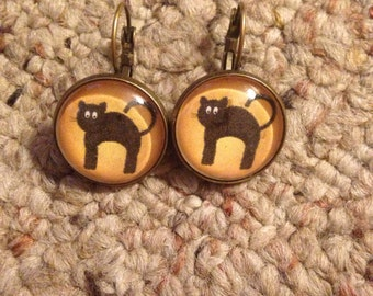 Halloween Kitty Image Earrings