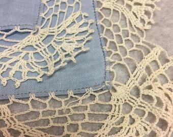 Blue hankerchief with lace trim