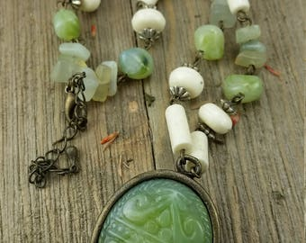 Vintage Green Tribal Beaded/ Stone Necklace
